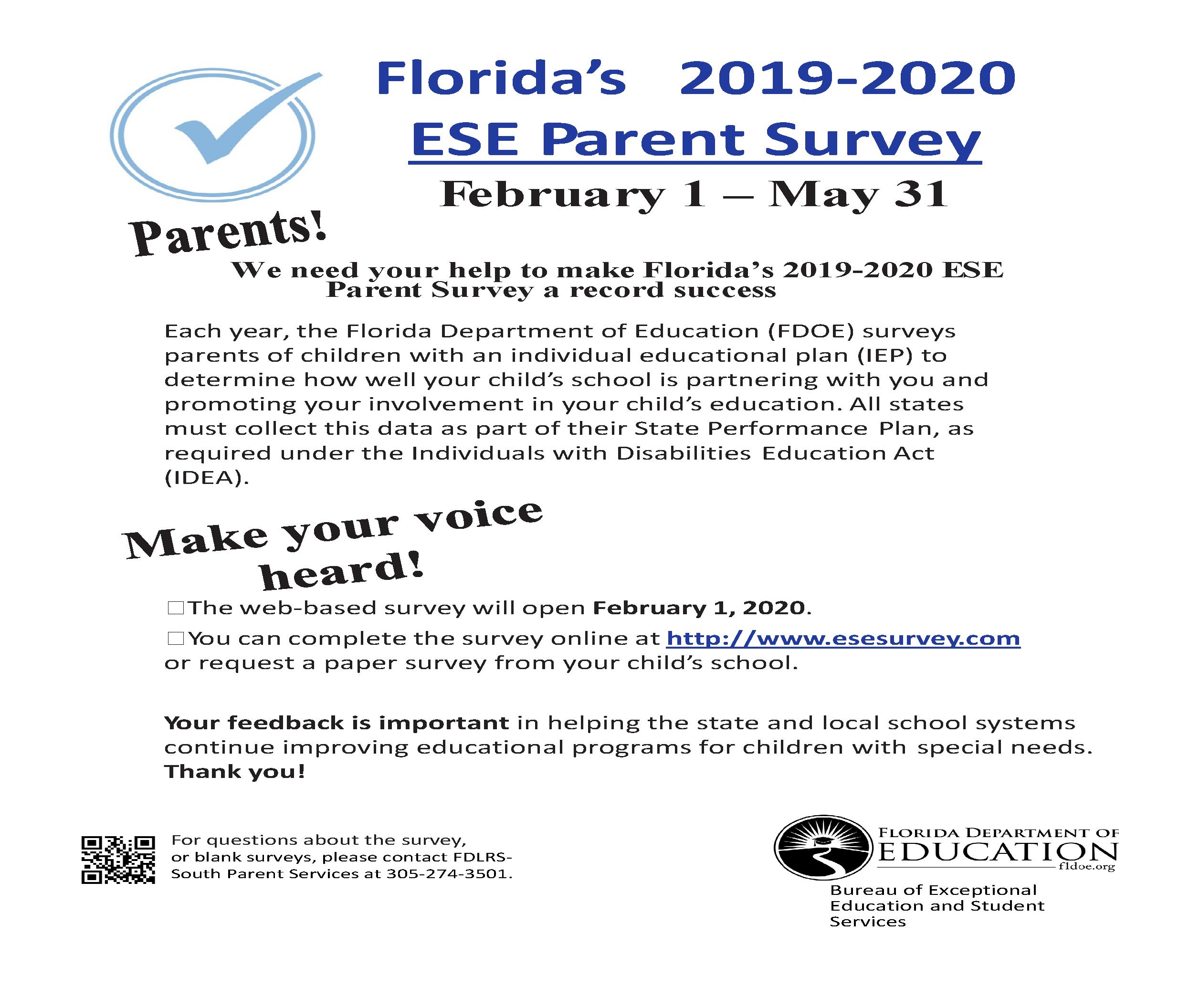 2019-20 ESE Parent Survey Flyer-English